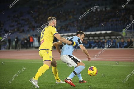 At Stadio Olimpico of Rome Lazio and Verona tied 0-0 for the 17 game of Italian Serie A. In this picture Stefan Radu and Fabio Borini