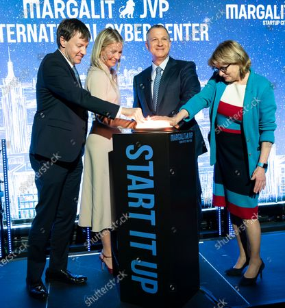 Stock Photo of James Patchett, Gwyneth Paltrow, Erel Margalit, Vicki Been attend opening of NYC JVP International Cyber Center at 122 Grand street