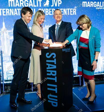 James Patchett, Gwyneth Paltrow, Erel Margalit, Vicki Been attend opening of NYC JVP International Cyber Center at 122 Grand street