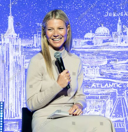 Gwyneth Paltrow participates in discussion during opening of NYC JVP International Cyber Center at 122 Grand street