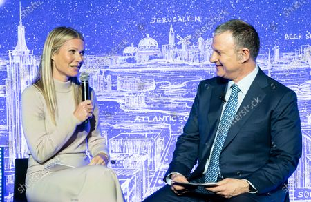 Stock Image of Gwyneth Paltrow and Erel Margalit participate in discussion during opening of NYC JVP International Cyber Center at 122 Grand street