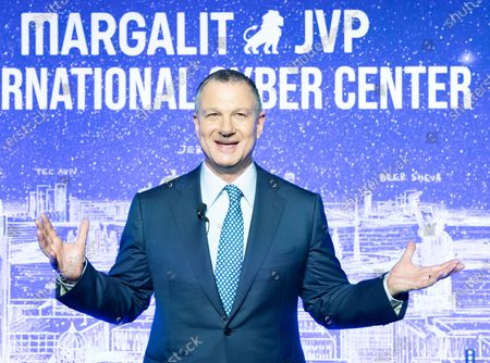 Stock Picture of Dr. Erel Margalit speaks during opening of NYC JVP International Cyber Center at 122 Grand street