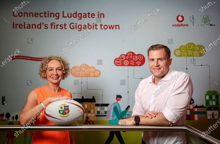 Stock Image of Vodafone (Ireland and UK) have today been revealed as lead partner for the 2021 British & Irish Lions Tour of South Africa. As lead partner, Vodafone's logo will be displayed on the front of the Lions' shirt. Vodafone will also provide communications technology to keep everyone involved in the Tour connected and will also provide technical support for training and player performance. Pictured at the announcement are Anne O'Leary, CEO Vodafone Ireland, Jamie Heaslip former British & Irish Lion and Gerry Nixon, Head of Sponsorship & Business Brand Vodafone Ireland. Pictured is Anne O'Leary, CEO Vodafone Ireland and Jamie Heaslip former British & Irish Lion