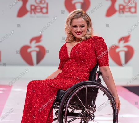 Stock Image of Ali Stroker wearing dress by Theia Couture walks runway for The American Heart Association's Go Red For Women Red Dress Collection 2020 at Hammerstein Ballroom