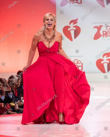 Gretchen Carlson wearing dress by Jay Godfrey walks runway for The American Heart Association's Go Red For Women Red Dress Collection 2020 at Hammerstein Ballroom