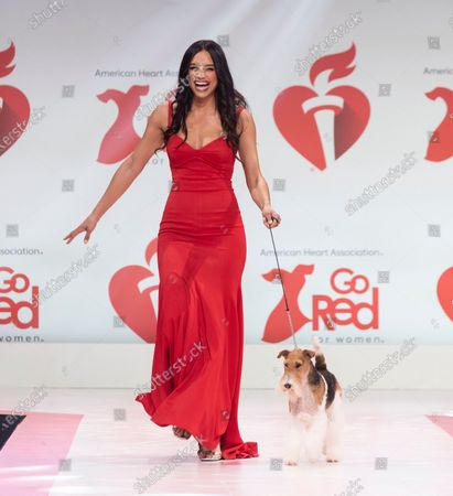 Rachel Smith wearing dress by Oliver Tolentino and dog King walks runway for The American Heart Association's Go Red For Women Red Dress Collection 2020 at Hammerstein Ballroom