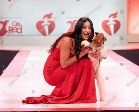 Stock Image of Rachel Smith wearing dress by Oliver Tolentino and dog King walks runway for The American Heart Association's Go Red For Women Red Dress Collection 2020 at Hammerstein Ballroom
