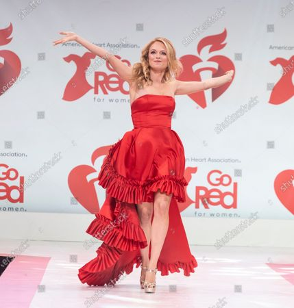 Heather Graham wearing dress by Randi Rahm walks runway for The American Heart Association's Go Red For Women Red Dress Collection 2020 at Hammerstein Ballroom