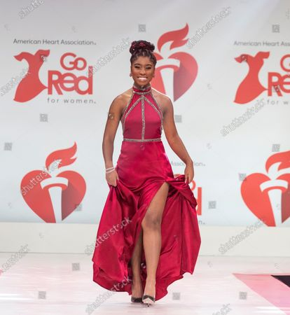 Lyric Ross wearing dress by Kimberly Parker Atelier walks runway for The American Heart Association's Go Red For Women Red Dress Collection 2020 at Hammerstein Ballroom