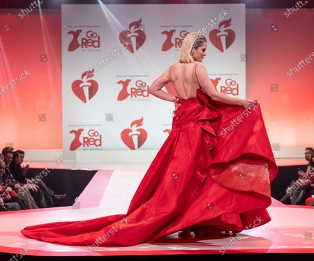 Sara Haines wearing dress by Karen Sabag walks runway for The American Heart Association's Go Red For Women Red Dress Collection 2020 at Hammerstein Ballroom