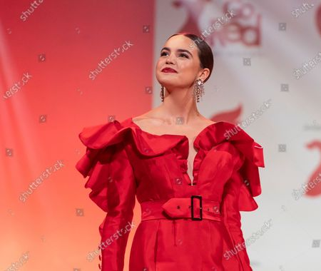 Bailee Madison wearing dress by Michael Fausto walks runway for The American Heart Association's Go Red For Women Red Dress Collection 2020 at Hammerstein Ballroom