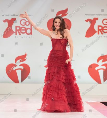Marin Hinkle wearing dress by J. Mendel walks runway for The American Heart Association's Go Red For Women Red Dress Collection 2020 at Hammerstein Ballroom