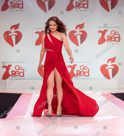 Stock Photo of Kimberly Williams-Paisley wearing dress by Pamella Roland walks runway for The American Heart Association's Go Red For Women Red Dress Collection 2020 at Hammerstein Ballroom