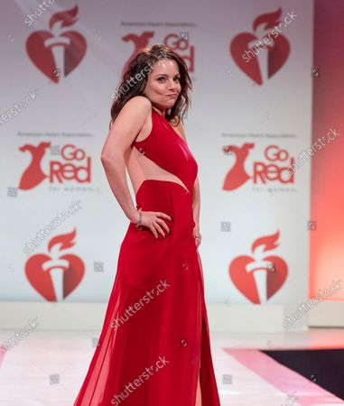 Kimberly Williams-Paisley wearing dress by Pamella Roland walks runway for The American Heart Association's Go Red For Women Red Dress Collection 2020 at Hammerstein Ballroom