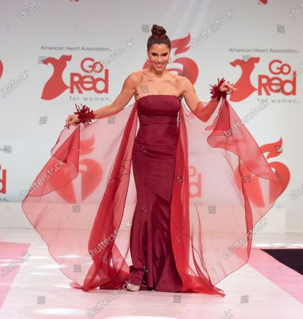 Roselyn Sanchez wearing dress by John Paul Ataker walks runway for The American Heart Association's Go Red For Women Red Dress Collection 2020 at Hammerstein Ballroom