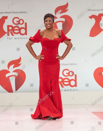 Tamron Hall wearing dress by Fouad Sarkis walks runway for The American Heart Association's Go Red For Women Red Dress Collection 2020 at Hammerstein Ballroom