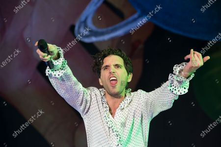Stock Photo of Mika, pseudonym of Michael Holbrook Penniman Jr. arrives in Italy at the Palapartenope in Naples. The title of the tour connects to his path of identity research and - precisely - revelation that I have undertaken in this new artistic adventure.