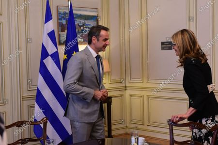 Greek Prime Minister Kyriakos Mitsotakis (left) with Deputy Prime Minister and Minister of Foreign Affairs of Bulgaria Ekaterina Zaharieva (right), during their meeting.