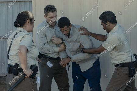 Stock Image of Rachel House as Harriet, Jai Courtney as Cam Sandford and Clarence Ryan as Sully