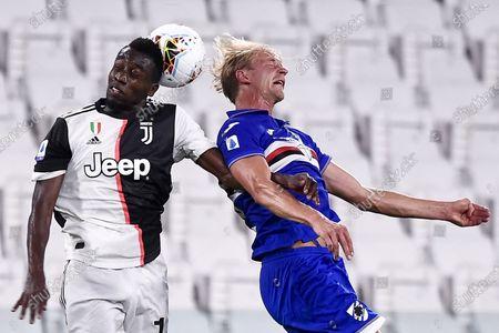 "Morten Thorsby (Sampdoria) Blaise Matuidi (Juventus)                                     during the Italian ""Serie A"" match between Juventus 2-0 Sampdoria at Allianz Stadium in Torino, Italy."