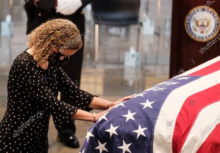 Rep. Debbie Wasserman Schultz (D-FL) pays her respects as the  Rep. John Lewis (D-GA) lies in state at the US Capitol Rotunda, in Washington, DC, USA, 27 July 2020. John Lewis will lie in state at the Capitol for two days before being laid to rest in Atlanta, Georgia. Lewis died at age 80 on 17 July 2020 after being diagnosed with pancreatic cancer in December 2019. John Lewis was the youngest leader in the March on Washington in 1963.