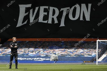 Stock Picture of Bournemouth's manager Eddie Howe inspects the pitch before the English Premier League soccer match between Everton and Bournemouth at Goodison Park in Liverpool, England