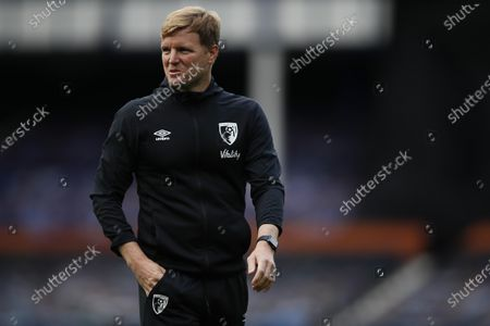 Bournemouth's manager Eddie Howe inspects the pitch before the English Premier League soccer match between Everton and Bournemouth at Goodison Park in Liverpool, England