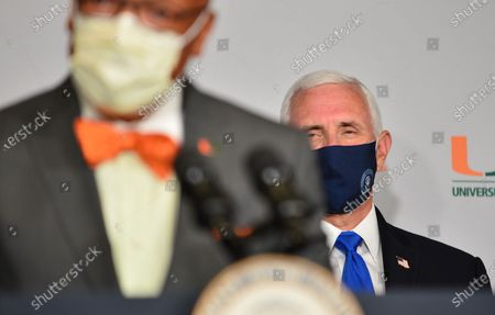 U.S. Vice President Mike Pence travel to Miami, Florida to mark the beginning of Phase III trials for a Coronavirus vaccine at the University of Miami Miller School of Medicine, Don Soffer Clinical Research Center. The Vice President participate in a roundtable with Florida Gov. Ron DeSantis, FDA Commissioner, university leadership and researchers on the progress of a Coronavirus vaccine.