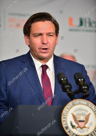 Florida Gov. Ron DeSantis participate in a press conference with  U.S. Vice President Mike Pence to mark the beginning of Phase III trials for a Coronavirus vaccine at the University of Miami Miller School of Medicine, Don Soffer Clinical Research Center. The Vice President participate in a roundtable with Florida Gov. Ron DeSantis, FDA Commissioner, university leadership and researchers on the progress of a Coronavirus vaccine.