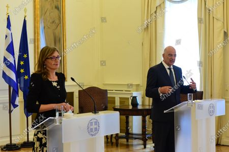 Greek Minister of Foreign Affairs Nikos Dendias (right) with Deputy Prime Minister and Minister of Foreign Affairs of Bulgaria Ekaterina Zaharieva (left), during the statements to the press.