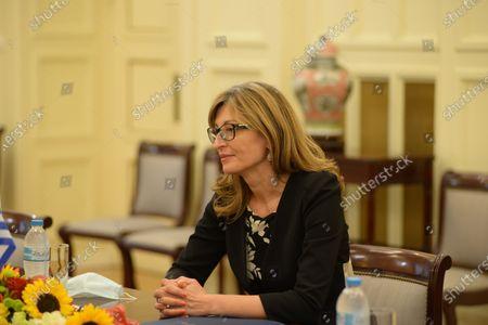 Deputy Prime Minister and Minister of Foreign Affairs of Bulgaria Ekaterina Zaharieva, during the meeting with Greek Minister of Foreign Affairs Nikos Dendias.