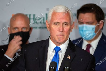 Editorial picture of Vice President Pence travel to Florida to mark the beginning of Phase III trials for a Coronavirus vaccine, Miami, USA - 27 Jul 2020