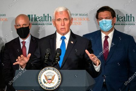 Editorial image of Vice President Pence travel to Florida to mark the beginning of Phase III trials for a Coronavirus vaccine, Miami, USA - 27 Jul 2020