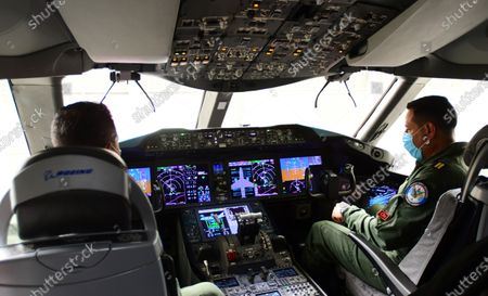 View of the cockpit of the Mexican presidential plane, a Boeing 787 acquired during the past administration, in the hangar of military base 19 of the Benito Juarez International Airport, in Mexico City, Mexico, 27 July 2020. The Mexican presidential plane was used by Enrique Pena Nieto and his successor, Andres Manuel Lopez Obrador, wants to sell for $130 million.