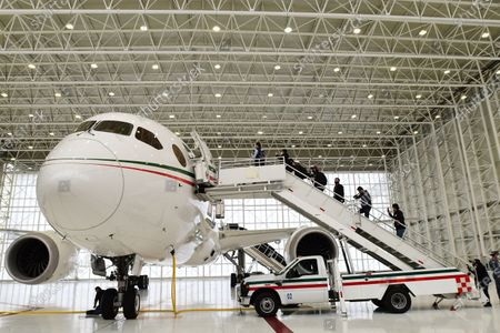 View of the Mexican presidential plane, a Boeing 787 acquired during the past administration, in the hangar of military base 19 of the Benito Juarez International Airport, in Mexico City, Mexico, 27 July 2020. The Mexican presidential plane was used by Enrique Pena Nieto and his successor, Andres Manuel Lopez Obrador, wants to sell for $130 million.