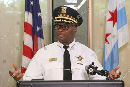 Stock Image of Chicago Police Superintendent David Brown speaks at a news conference on in Chicago. Police are reporting a drop in homicides and shooting incidents after the department rolled out two units designed to combat gun violence and ensure protests remain peaceful. The city reported three homicides over the weekend compared to 12 the weekend before. It was the first weekend that the 300-member Community Safety Team was dispatched to communities on the West and South sides where there has been an uptick in violent crime
