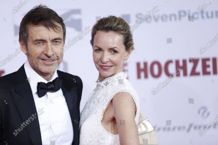 Stock Image of Simone Hanselmann and her new partner Guido Broscheit on the red carpet in front of the Zoo Palace.