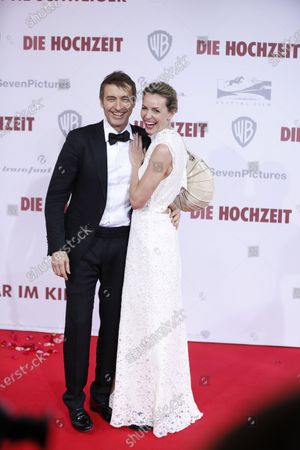 Stock Photo of Simone Hanselmann and her new partner Guido Broscheit on the red carpet in front of the Zoo Palace.