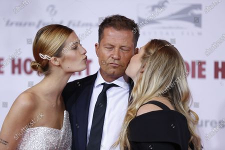 Stock Image of Director and actor Til Schweiger and Luna Schweiger and Lilli Schweiger  on the red carpet in front of the Zoo Palace.
