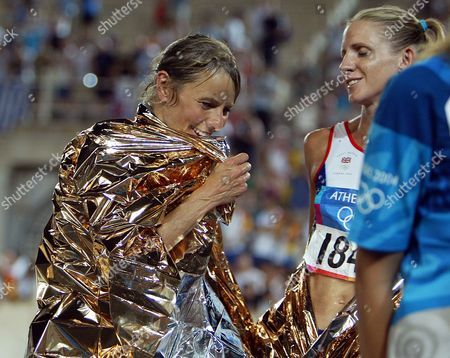 Olympic Games 2004: Women's Marathon: Britain's Tracey Morris And Liz Yelling After Finishing Marathon