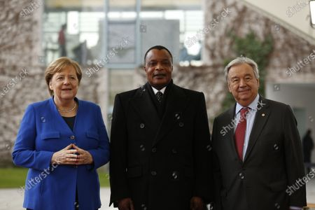 Chancellor Angela Merkel and UN Secretary General António Guterres welcomes the Denis Sassou-Nguesso, President of the Republic of the Congo,  in the courtyard of the Federal Chancellery to the Libya conference