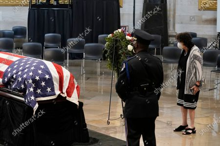 Associate Justice of the Supreme Court Sonia Sotomayor walks past the flag-draped casket of the late US Representative John Lewis (Democrat of Georgia), as he lies in state at the Capitol in Washington,.