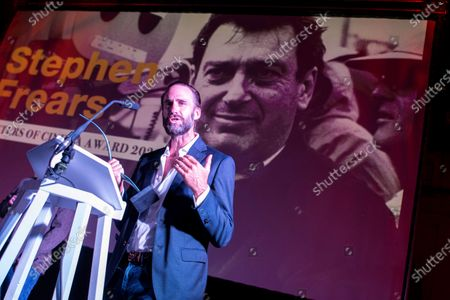 Joseph Fiennes delivers a speech as he receives 'Masters of Cinema' Award on behalf of filmmaker Stephen Frears during the opening ceremony of Atlantida Film Fest 2020 in Palma de Mallorca, Balearic Islands, Spain, late 27 July 2020. The festival runs until 02 August.