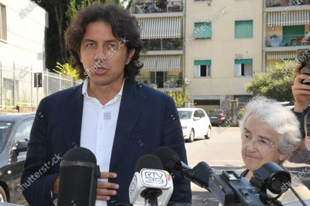 Italian right-to-die activists Marco Cappato and Mina Welby speak to journalists