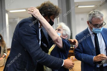 Italian right-to-die activists Marco Cappato and Mina Welby after the court's acquittal sentence