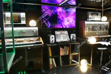 Jean-Michel Jarre imaginer studio, at Electronic, From Kraftwerk to The Chemical Brothers exhibtion at The Design Museum