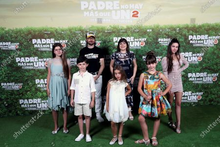 Santiago Segura (2-L, second row) and cast members  Calma Segura, Carlos G. Morollon, Serena Segura (front), Loles Leon (behind), Luna Fulgencio and Martina D'Antiochia pose for the photographers during a photocall for the movie 'Padre no hay mas que uno 2' (Father There Is Only One, part 2) at Bankia Principe Pio Theater in Madrid, Spain, 28 July 2020. The film opens in Spanish cinemas on 01 August.
