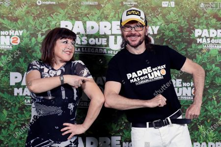 Santiago Segura (R) and Spanish actress/cast member Loles Leon pose for the photographers at a photocall for the movie 'Padre no hay mas que uno 2' (Father There Is Only One, part 2) at Bankia Principe Pio Theater in Madrid, Spain, 28 July 2020. The film opens in Spanish cinemas on 01 August.