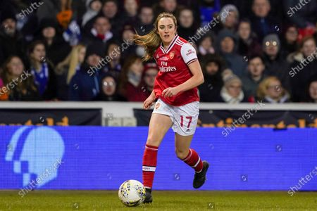 Lisa Evans of Arsenal in action during the 2020 FA Women Continental Tyres League Cup Final between Arsenal Women and Chelsea Women at the City Ground in Nottingham, England.