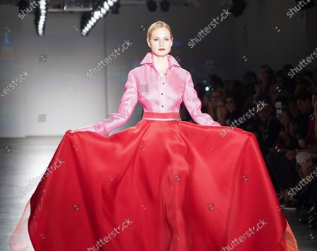 New York, NY - February 8, 2020: Model walks runway for Zang Toi collection during Fashion Week at Pier 59